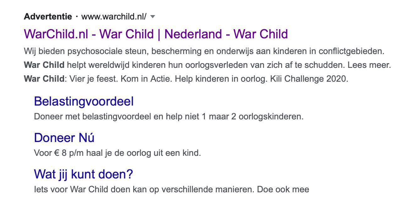voorbeeld advertentie-extensies Google Ad Grants non profit